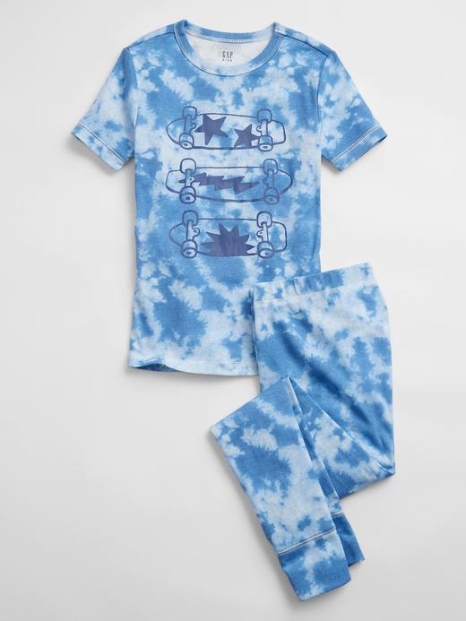 Erkek Çocuk Mavi Tie-Dye Kısa Kollu Pijama Takımı