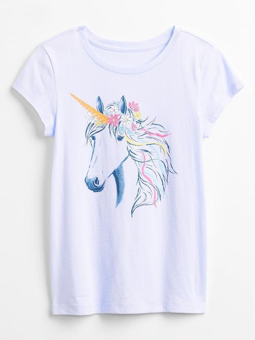 Kız Çocuk Mor Kısa Kollu Grafik T-Shirt