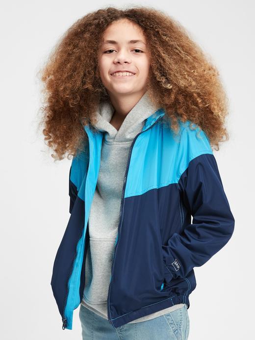Erkek Çocuk Turuncu Renk Bloklu Rüzgarlık