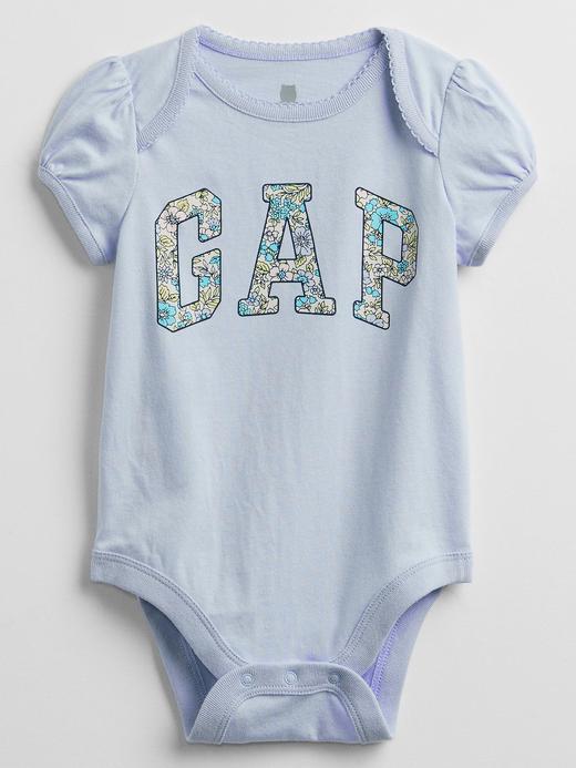 Kız Bebek Mavi Gap Logo Kısa Kollu Body
