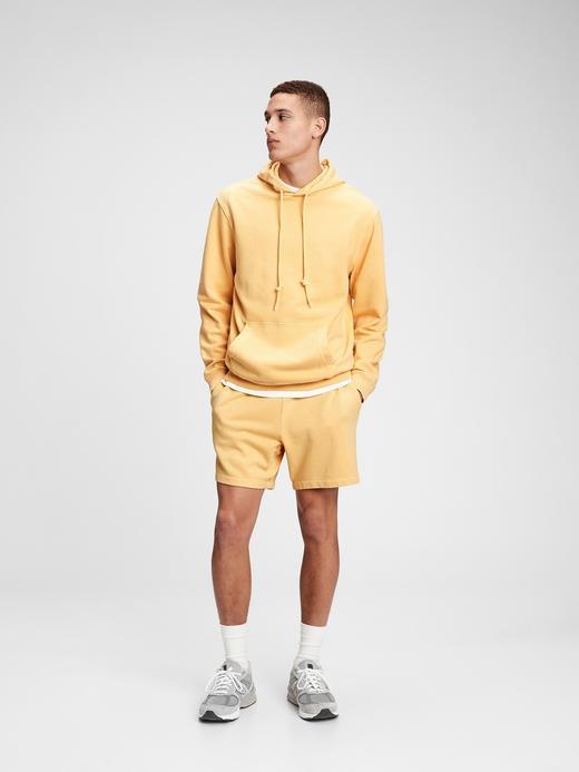 Erkek Sarı French Terry Kapüşonlu Sweatshirt