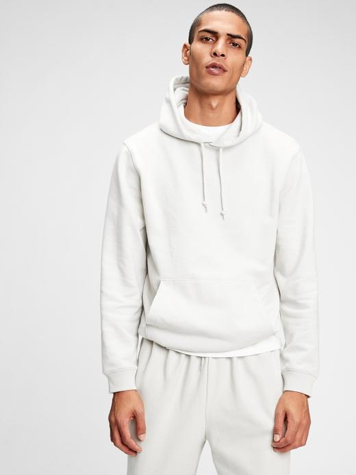 Erkek Beyaz French Terry Kapüşonlu Sweatshirt