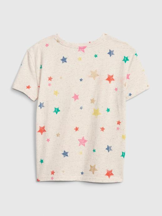 Kız Çocuk Mavi Desenli Kısa Kollu T-Shirt