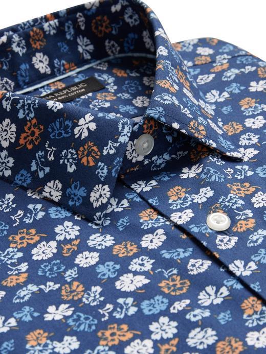 Erkek Mavi Slim-Fit Ütü Gerektirmeyen Gömlek
