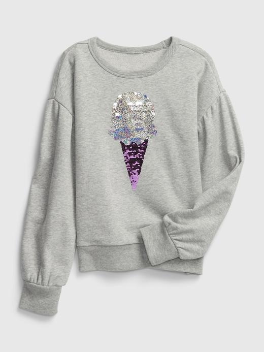 Kız Çocuk Gri Dondurma Baskılı Sweatshirt
