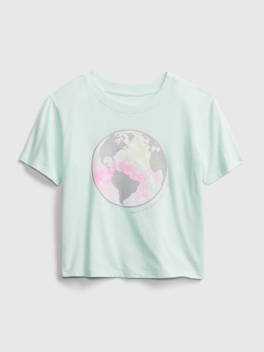 Kız Çocuk Yeşil Organik Pamuklu Grafik Desenli T-Shirt