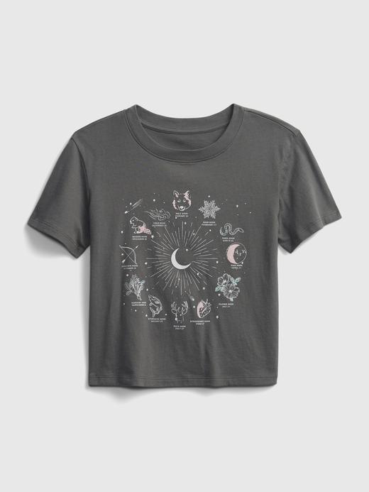 Kız Çocuk Gri Organik Pamuklu Grafik Desenli T-Shirt
