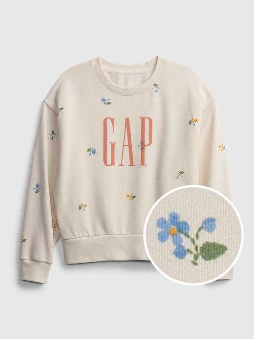 Kız Çocuk Bej Gap Logo Çiçek Desenli Sweatshirt