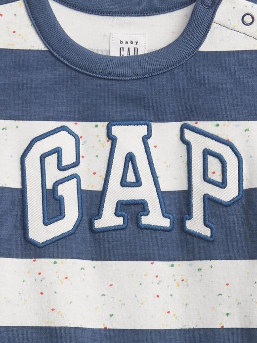 Erkek Bebek Mavi Gap Logo Çizgili Tulum