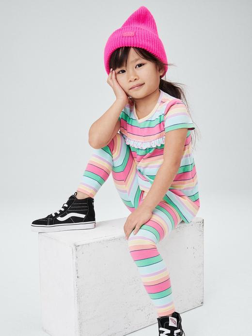 Kız Bebek Çok Renkli Organik Pamuklu Desenli Tayt
