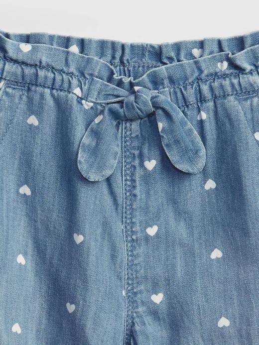 Kız Bebek kalp desenli Kalp Desenli Denim Jogger Pantolon