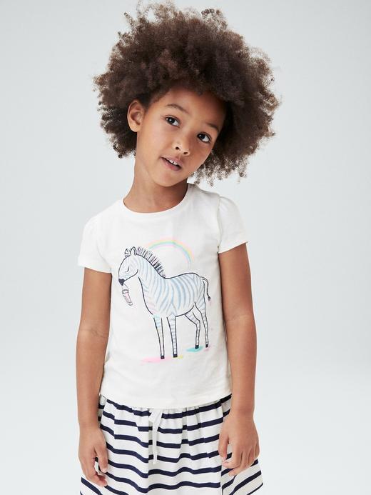 Kız Bebek köpek Organik Pamuklu Grafik T-Shirt