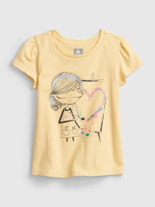 Kız Bebek Sarı Organik Pamuklu Grafik T-Shirt