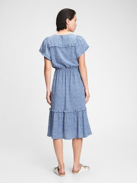 Kadın mavi puantiyeli V Yaka Puantiye Desenli Midi Elbise
