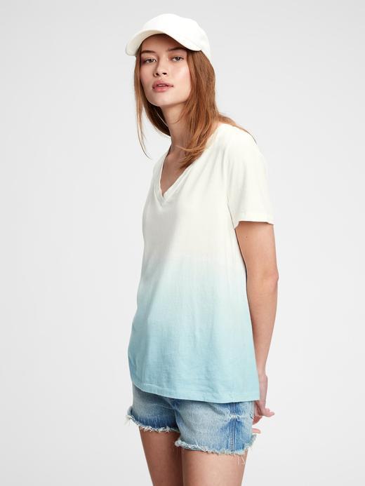 Kadın Mavi Organik Pamuk Vintage Tie-Dye T-Shirt