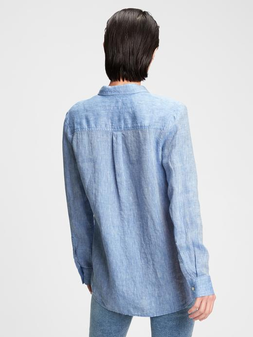 Kadın Mavi Boyfriend Keten Gömlek
