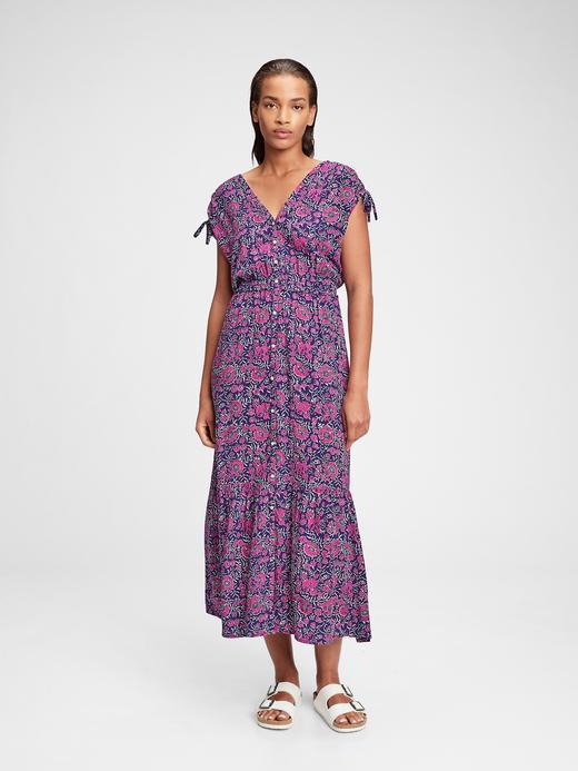 Kadın Mor Dantel Detaylı  Maxi Elbise
