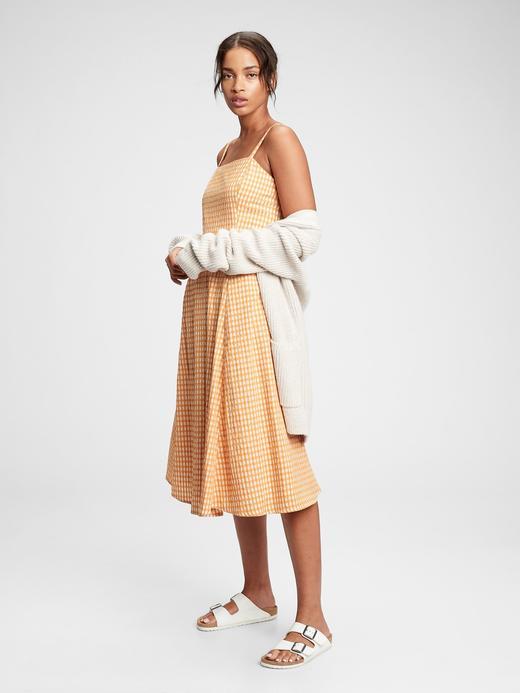 Kadın Sarı Kare Yaka Çizgili Midi Elbise