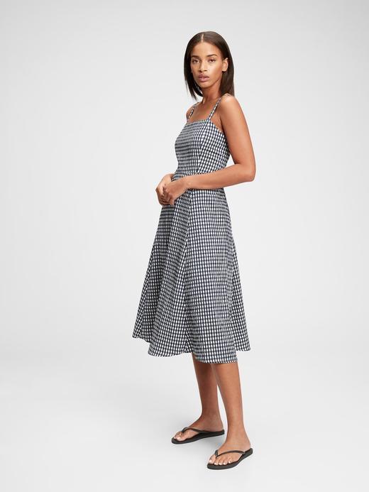 Kadın Lacivert Kare Yaka Çizgili Midi Elbise