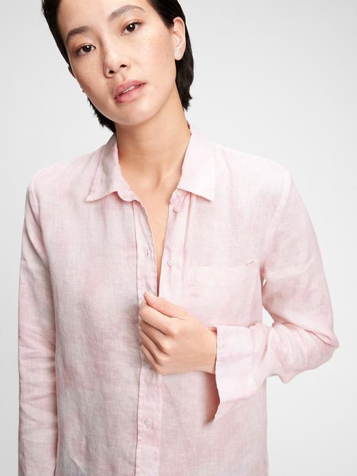 Kadın Pembe Boyfriend Keten Gömlek