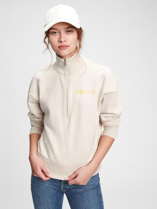 Kadın Bej Vintage  Gap Logolu  Yarım Fermuarlı Sweatshirt