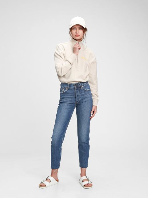 Kadın Mavi Vintage  Gap Logolu  Yarım Fermuarlı Sweatshirt
