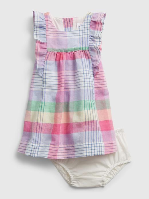 Kız Bebek Çok Renkli Fırfır Detaylı Ekose Elbise