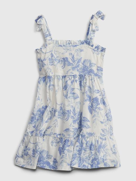 Kız Bebek beyaz Çiçek Desenli Fırfırlı Elbise