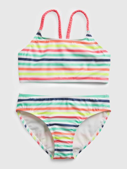 Kız Çocuk Çok Renkli Çizgili Bikini Seti