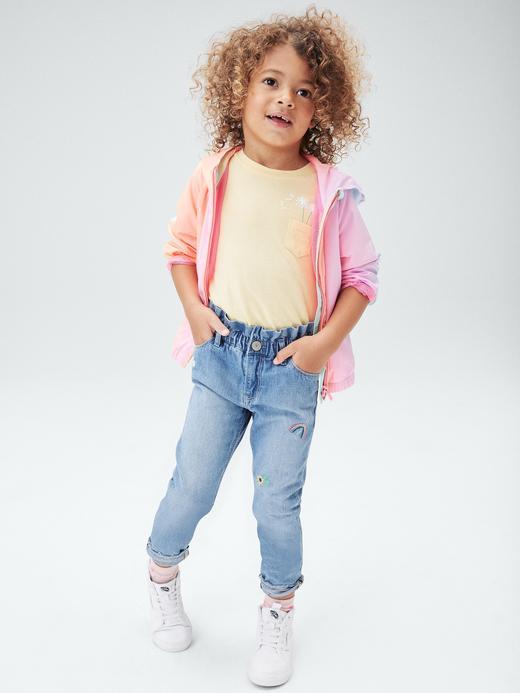 Kız Bebek mavi Pull-On Mom Jeans Washwell