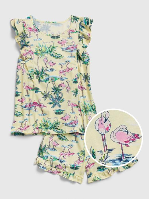 Kız Çocuk Sarı Flamingo desenli Pijama Takımı