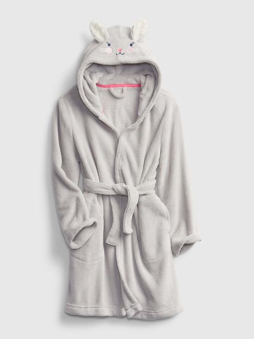 Kız Çocuk Gri Tavşan Şapkalı Bornoz