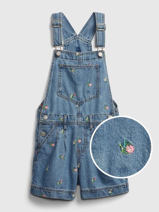 Kız Çocuk Mavi Çiçekli Salopet
