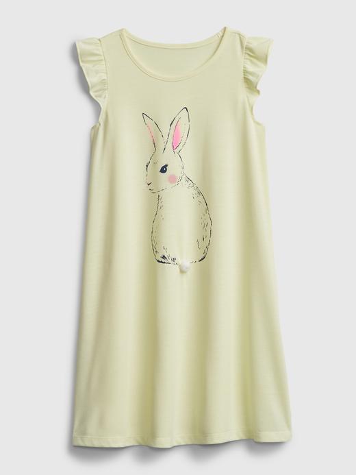 Kız Çocuk Sarı Tavşan Desenli Gecelik