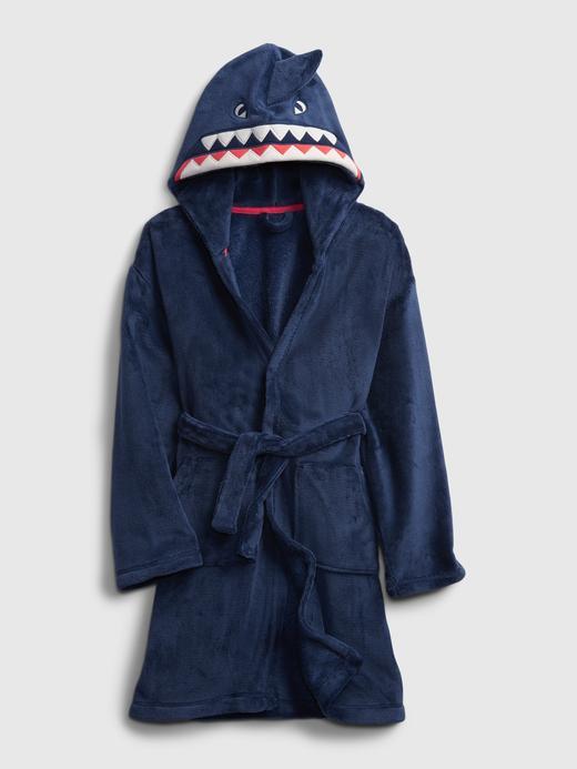Erkek Çocuk Lacivert Köpek Balığı Şapkalı Bornoz