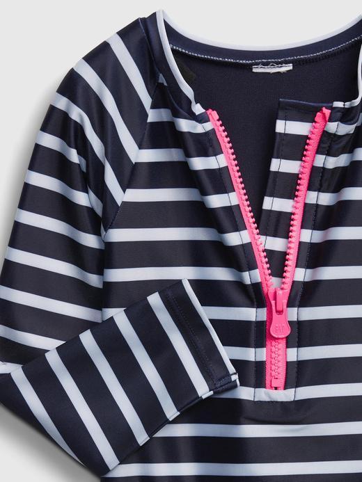 Kız Bebek Lacivert Fermuar Detaylı Çizgili  Body