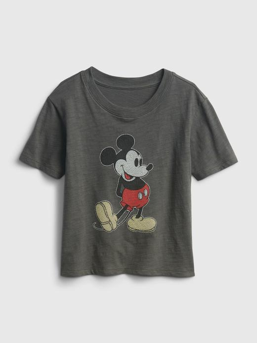 Kız Çocuk Siyah Disney Mickey Mouse T-Shirt