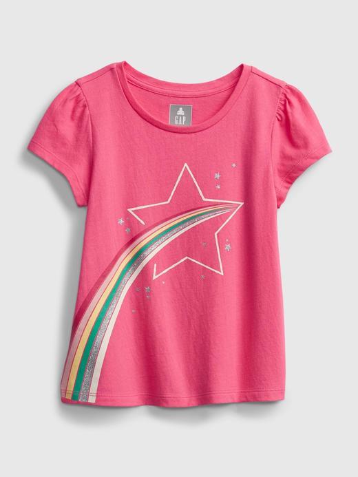 Kız Bebek Pembe Organik Pamuklu Grafik T-Shirt
