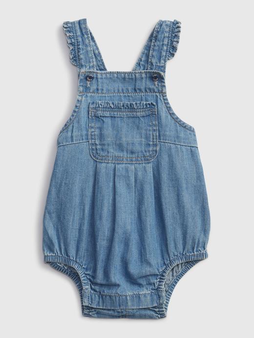 Kız Bebek Mavi Denim Askılı Tulum