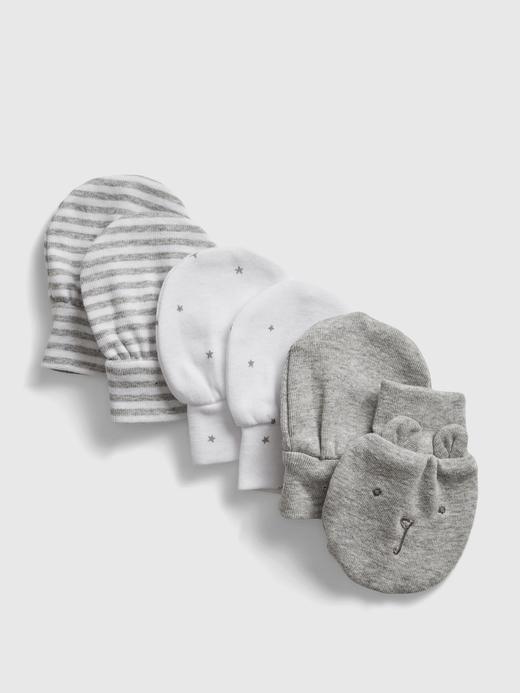 Erkek Bebek Gri 5'li Baskılı Eldiven
