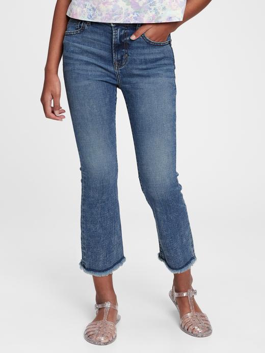 Kız Çocuk Mavi High-Rise Ankle Flare Jean Pantolon