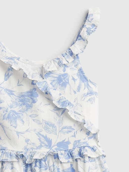 Kız Çocuk Mavi Çiçek Desenli Askılı Elbise