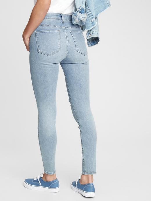 Kadın Mavi Mid Rise  Jegging Pantolon