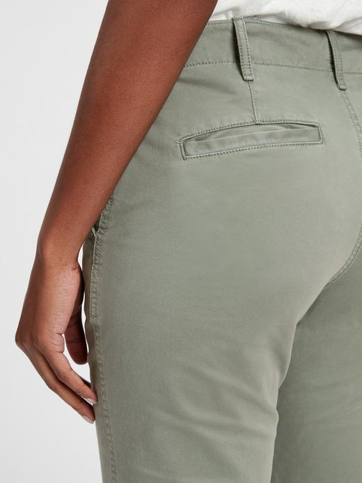 Kadın koyu gri High Rise Straight Fit Khaki Pantolon
