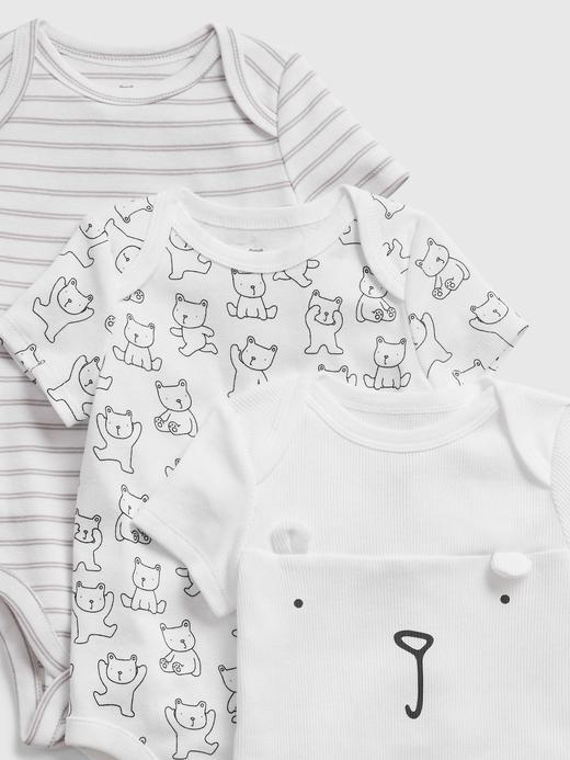 Erkek Bebek beyaz 3'lü Desenli Body Seti
