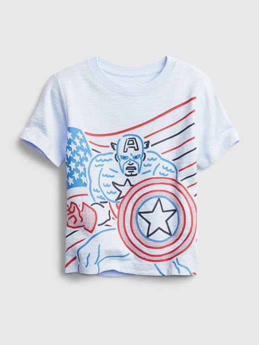 Erkek Bebek mavi Marvel Grafik T-Shirt