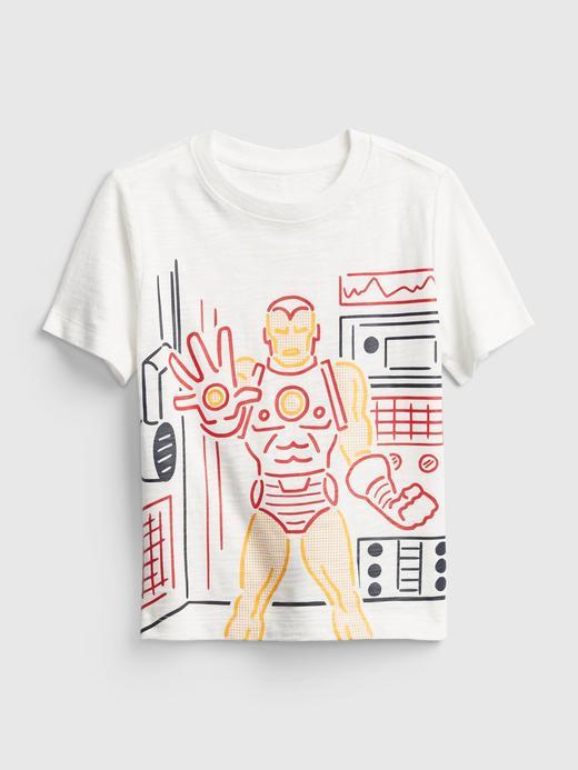 Erkek Bebek kırık beyaz Marvel Grafik T-Shirt