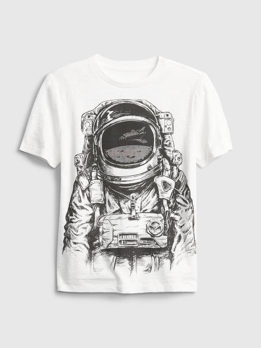 Erkek Çocuk Beyaz 3D Baskılı Grafik T-Shirt