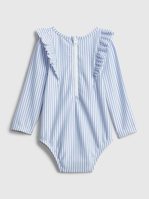 Kız Bebek mavi Çizgili Mayo