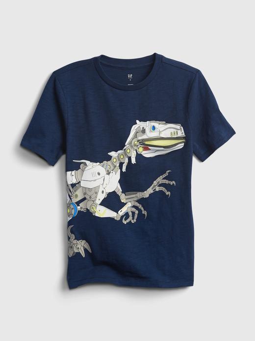 Erkek Çocuk Mavi Dinazor Baskılı T-Shirt